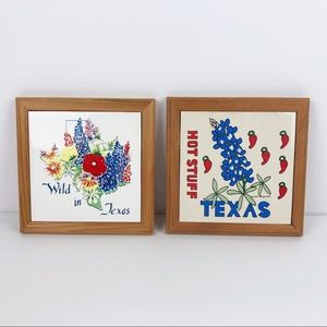 Vintage '87 Texas Wildflower Tiled Wall Plaque Set